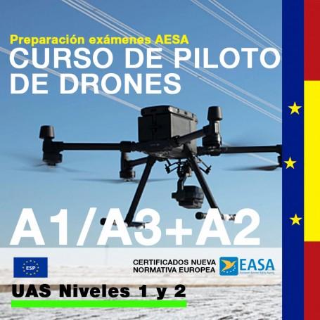 CURSO DE PILOTO DE DRONES A1/A3+A2 NIVEL 1 Y 2 - UE UAS OPEN